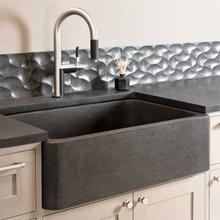 """See Details - Polished & Honed Front Farmhouse Sinks 27"""" Width / Blue Gray Granite"""