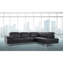 Divani Casa Carnation - Modern Black Eco-Leather Sectional Sofa