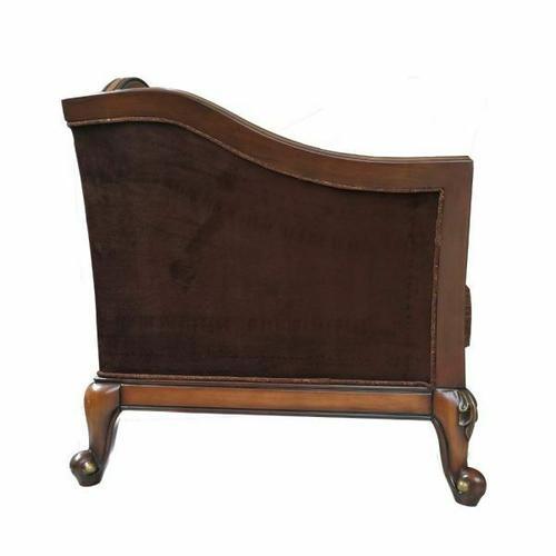 ACME Beredei Chair w/2 Pillows - 50667 - Fabric & Antique Oak