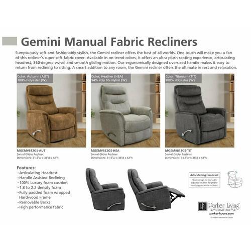 GEMINI - HEATHER Manual Swivel Glider Recliner