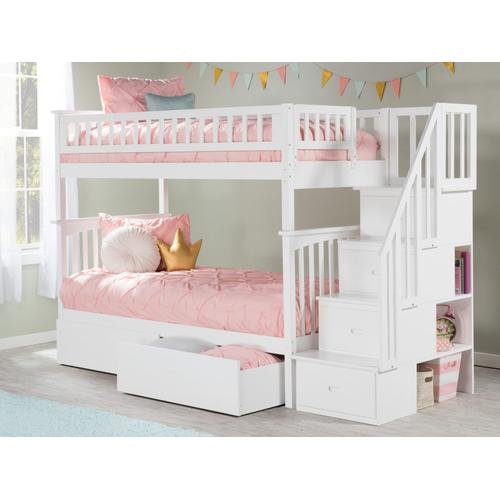 Atlantic Furniture - Columbia Staircase Bunk Bed Twin over Twin with Urban Bed Drawers in White
