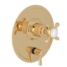 Edwardian Pressure Balance Trim with Diverter - English Gold with Cross Handle