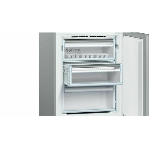 Bosch - 800 Series Free-standing fridge-freezer with freezer at bottom, glass door 23.5'' Black B10CB81NVB