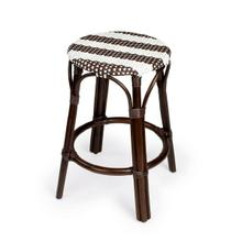 See Details - Evoking images of sidewalk tables in the Cote d'Azur, counter stools like this will give your kitchen or patio the casual sophistication of a Mediterranean coastal bistro. Expertly crafted from thick bent rattan for superb durability, it features weather resistant woven plastic in a dark brown and white striped pattern. This backless counter stool is lightweight for easy mobility with comfort to make the space it's in a frequent gathering place.