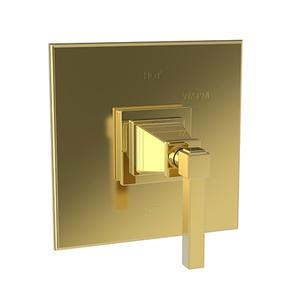 Aged Brass Balanced Pressure Shower Trim Plate with Handle. Less showerhead, arm and flange.