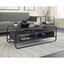 Modern Glass-Top Metal & Wood Coffee Table