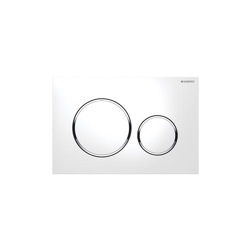 Sigma20 Dual-flush plates for Sigma series in-wall toilet systems White with polished chrome accent Finish