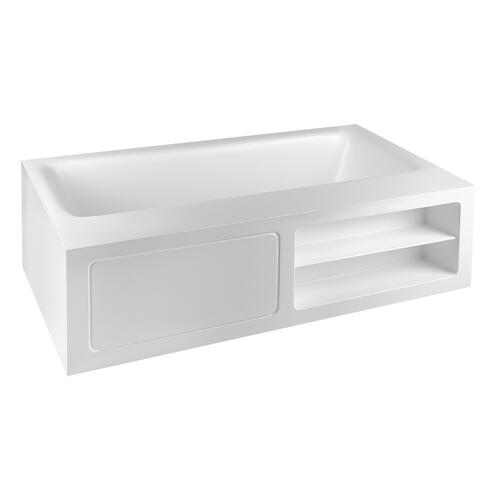 "Freestanding bathtub in Cristalplant® Matt white L 5' 10-7/8"" W 3' 3-3/8"" H 1' 9-11/16"" Side ledge Open shelves (right sid e) and tap mounting with access door (left side) Waste included CSA certifiedPlease check if the capacity load of the slab is in conformity with the specificationsPlease contact Gessi USA for freight terms"