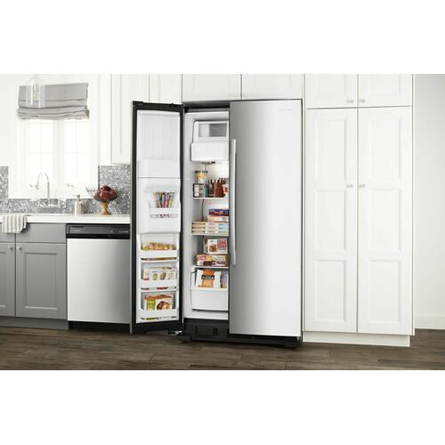 36-inch Side-by-Side Refrigerator with Dual Pad External Ice and Water Dispenser - Black-on-Stainless