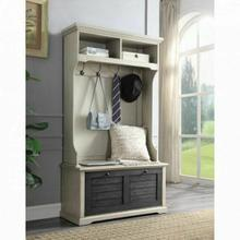 ACME Shermie Hall Tree - 97698 - Farmhouse - Wood (Pine), MDF, Metal Hardware - Antique White and Dark Gray