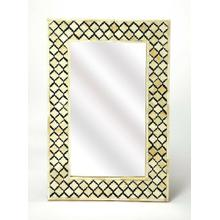 See Details - This magnificent Wall Mirror features sophisticated artistry and consummate craftsmanship. The gemoteric patterns covering the piece are created from white bone inlays cut and individually applied in a sea of black by the hands of a skillful artisan. hangs both horizontal or vertical. No two mirrors are ever exactly alike, ensuring this piece will hang in your hom, as a bonafide original.