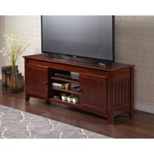 See Details - Mission 60 inch Entertainment Console with Adjustable Shelves in Walnut