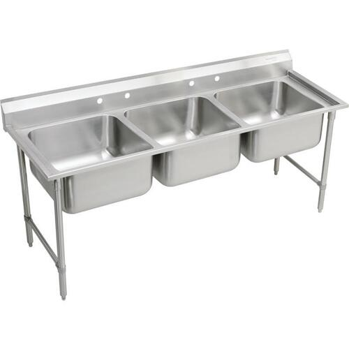 "Product Image - Elkay Rigidbilt Stainless Steel 85-1/2"" x 29-3/4"" x 12-3/4"", Floor Mount, Triple Compartment Scullery Sink"