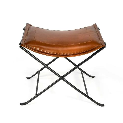 Leather meets iron for a simple seat, ideal for any spot in your home. Great alone or in multiples, its carefully stitched warm brown leather seat is supported by an understated black iron base that folds eaily for storage.