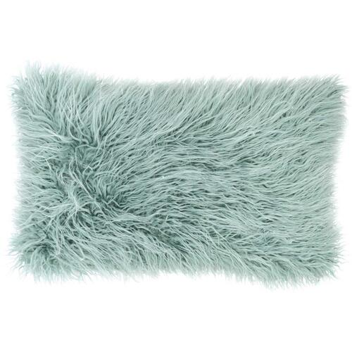 "Faux Fur Bj101 Celadon 14"" X 24"" Lumbar Pillow"