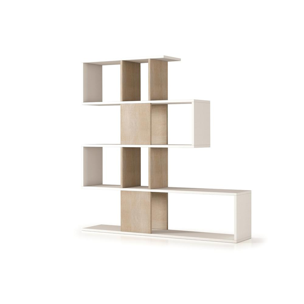 The Time Bookcase Part Of Our Kd Collection In White Wood Grain And Light Oak Concrete Melamine