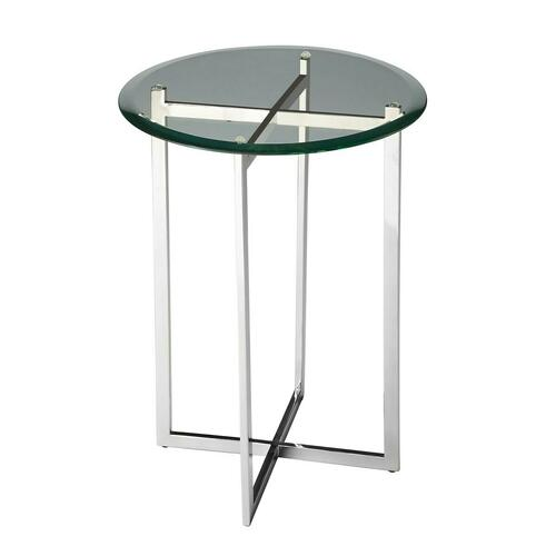 Butler Specialty Company - Clean lines of the stainless steel base finished in shimmering nickel with a beautifully beveled glass top create a compelling aesthetic for this table designed to enhance any decor.