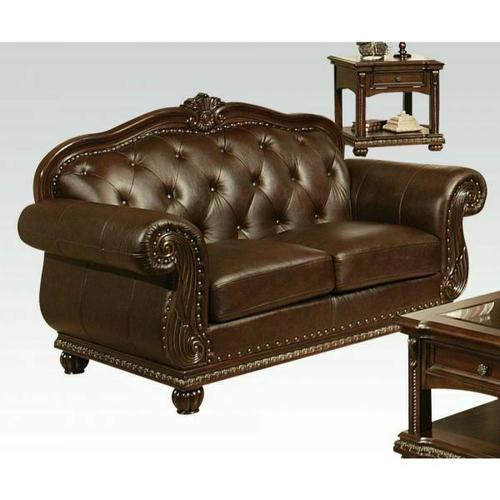 ACME Anondale Loveseat - 15031 - Espresso Top Grain Leather Match