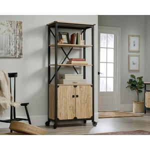 SauderRustic Metal & Wood Bookcase with Doors