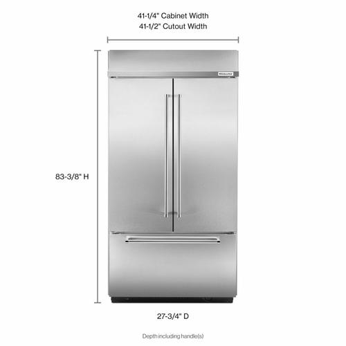 """KitchenAid - 24.2 Cu. Ft. 42"""" Width Built-In Stainless French Door Refrigerator with Platinum Interior Design - Stainless Steel"""