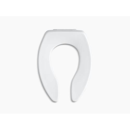 White Elongated Toilet Seat With Anti-microbial Agent and Self-sustaining Check Hinge