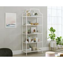 Modern White 5-Shelf Metal & Glass Bookcase