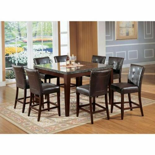 ACME Danville Counter Height Table - 07059 - Black Marble & Walnut