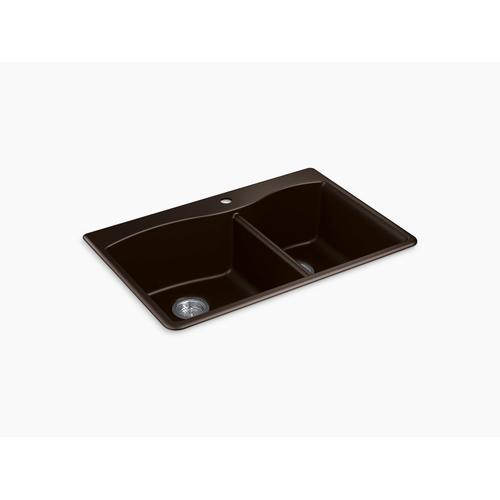 """Matte Brown 33"""" X 22"""" X 9-5/8"""" Neoroc Top-mount/undermount Large/medium Kitchen Sink"""
