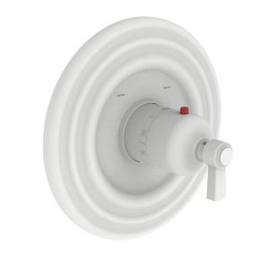 """Matte White 3/4"""" Round Thermostatic Trim Plate with Handle"""