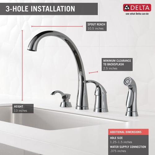 Chrome Single Handle Kitchen Faucet with Spray and Soap Dispenser