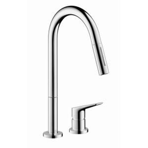 Chrome 2-Hole Single-Handle Kitchen Faucet 2-Spray Pull-Down, 1.75 GPM