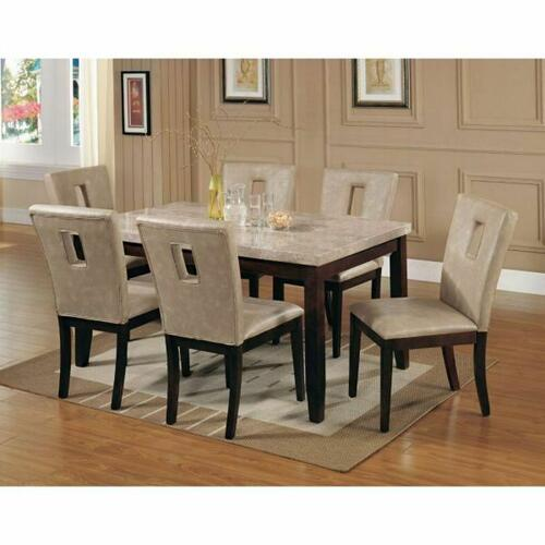 ACME Britney Dining Table - 17058 - White Marble & Walnut