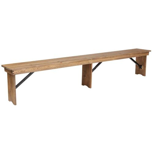 """8' x 12"""" Antique Rustic Solid Pine Folding Farm Bench with 3 Legs"""