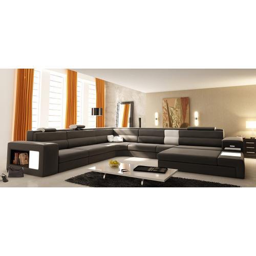 VIG Furniture - Divani Casa Polaris - Contemporary Grey Bonded Leather U Shaped Sectional Sofa with Lights