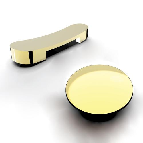 """Lyndell 67"""" Acrylic Slipper Tub with Integral Drain and Overflow - Polished Brass Drain and Overflow"""