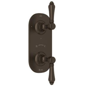 1/2 Inch Thermostatic and Diverter Control Trim - Tuscan Brass with Metal Lever Handle