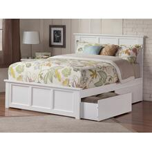 Madison Queen Bed with Matching Foot Board with 2 Urban Bed Drawers in White