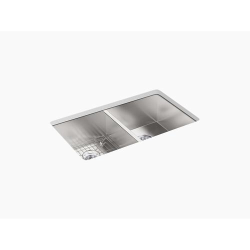 "33"" X 22"" X 9-5/16"" Top-mount/undermount Double-equal Bowl Kitchen Sink With 4 Faucet Holes"