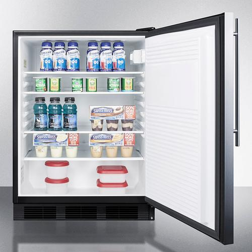 Product Image - ADA Compliant All-refrigerator for Freestanding General Purpose Use, Auto Defrost W/ss Door, Thin Handle, and Black Cabinet