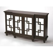 See Details - Geometric attitude is boasted with this contemporary patterned sideboard. The clean lines of the geometric patterned fret work offer the paneled mirror glass an unique reflection for all to enjoy . This style offers great storage convenience while making an elegant statement in the offering. Pair with the coordinating Chest #4415403 to complete the look.