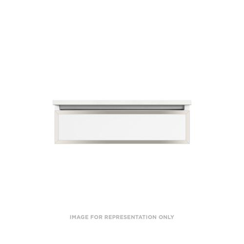 "Profiles 30-1/8"" X 7-1/2"" X 21-3/4"" Modular Vanity In Satin White With Polished Nickel Finish, False Front Drawer and No Night Light; Vanity Top and Side Kits Not Included"
