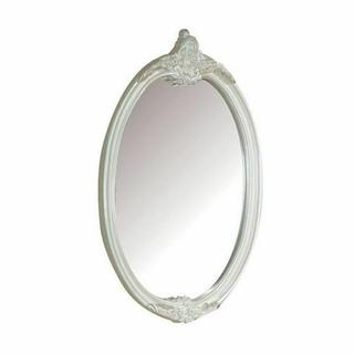 ACME Pearl Mirror - Oval - 01014 - Pearl White & Gold Brush Accent