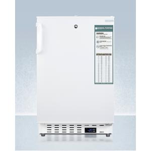 SummitBuilt-in Undercounter -25 c ADA Compliant Commercially-approved All-freezer In White With Lock, Digital Controls, Interior Baskets, Hospital Cord With 'green Dot' Plug, Factory Installed Access Port, and Manual Defrost Operation