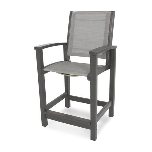Slate Grey & Metallic Coastal Counter Chair