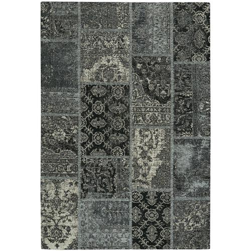 Cosmic-Patchwork Silver Black Hand Loomed Area Rugs