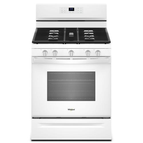 Whirlpool - 5.0 cu. ft. Whirlpool® gas convection oven with Frozen Bake™ technology White