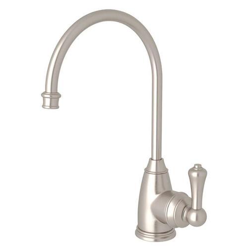Georgian Era C-Spout Hot Water Faucet - Satin Nickel with Metal Lever Handle
