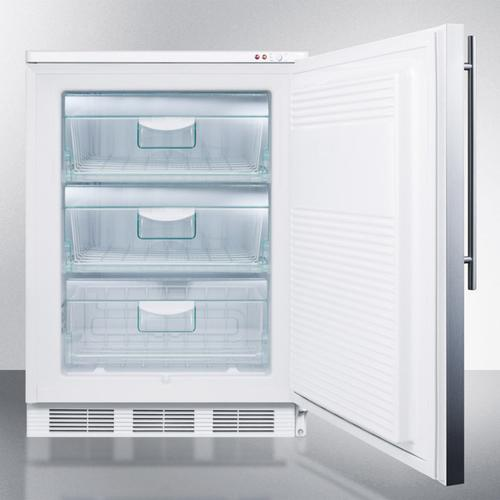 Freestanding Counter Height All-freezer Capable of -25 C Operation, With Lock, Wrapped Stainless Steel Door and Thin Handle