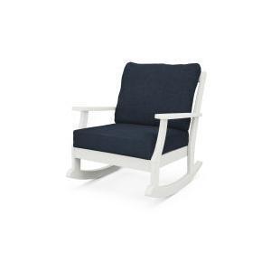 Polywood Furnishings - Braxton Deep Seating Rocking Chair in Vintage White / Marine Indigo