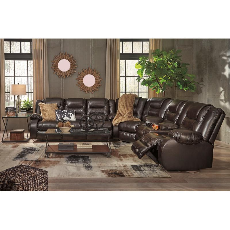View Product - Vacherie Chocolate 3 Piece Reclining Sectional